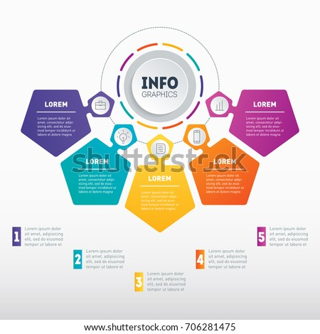 Business presentation or infographic with 5 options. Vector dynamic infographics with five parts of technology or education process. Web Template of a chart, info graphic, mindmap or diagram.
