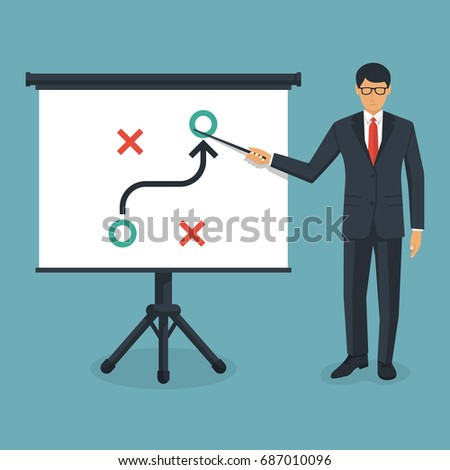 Business presentation planning strategy. Business tactic. Businessman standing whiteboard showing scheme. Pointing and explains chart. Vector illustration of flat design style. Plan to achieve goal.