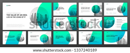 Business presentation powerpoint templates set. Use for presentation background, keynote template, brochure design, website slider, landing page, annual report, company profile.