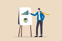 Business presentation, professional speaker to present work progress or investment portfolio concept, smart businessman present business analysis report on whiteboard in company meeting or conference.