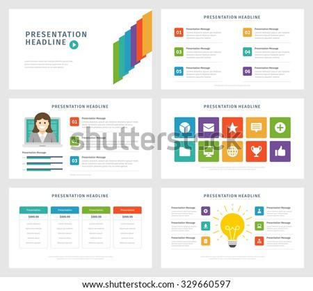 Business Presentation Template Design Set. Infographic Elements, Symbols  Icons, Flat Illustrations. Advertising