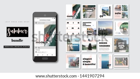 Business presentation template. Set of modern blog posts or Editable simple info banner, trendy book cover idea. Social media pack. For app, web mail digital display style. Minimal. beauty cards. ppt #1441907294