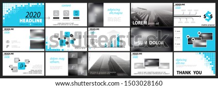 Business presentation template. Vector set, infographic elements, white background. Office flyers marketing, banner advertising. Squares and pixels, turquoise design. Slide, Annual Report, phone, city