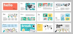 Business presentation templates. Flat design vector infographic elements for presentation slides, annual report, business marketing, brochure, flyers, web design and banner, company presentation.