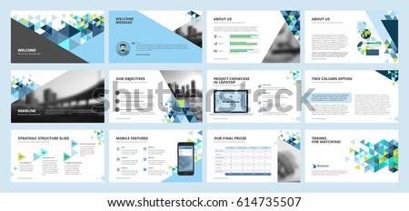 Business Presentation Templates. Set Of Vector Infographic Elements For  Presentation Slides, Annual Report,