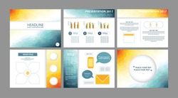 Business presentation templates vectors. Low poly modern futuristic design layouts for annual financial report. Meeting, seminar, conference infographics backgrounds.