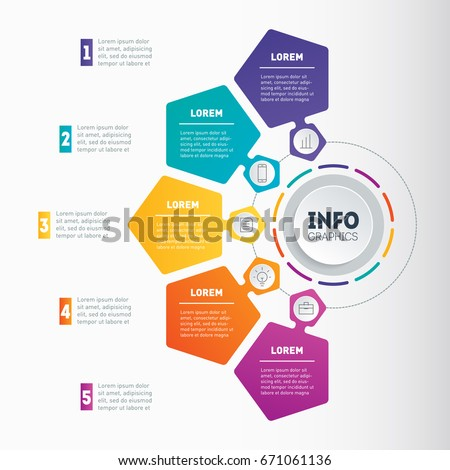 Business presentation with five options. Vector dynamic infographics of technology or education process. Web Template of a chart, mindmap or diagram. Part of the report.