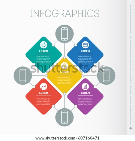 Business presentation with 5 options. Web Template of mind map, slide or diagram. Vector dynamic infographics of technology or education process. Part of the report with simple geometric elements.