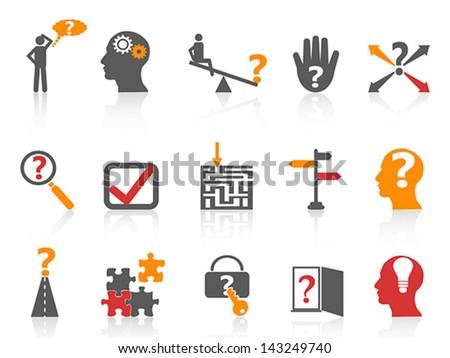 business problem solving icons,orange color series