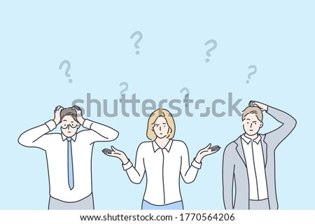 Business, problem, thinking, brainstorming set concept. Group team of confused thoughtful pensive businessmen woman asking questions searching answers and trouble solution. Collective brainstorming.