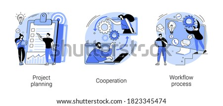 Business process abstract concept vector illustration set. Project planning, cooperation, workflow process, business analysis, vision and scope, boost productivity, partnership abstract metaphor.