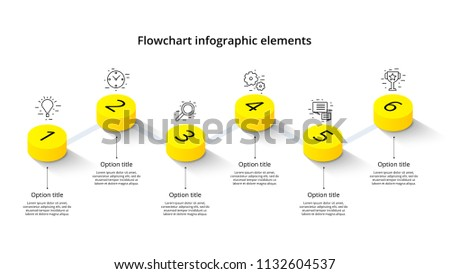 Business process chart infographics with 6 step segments. Isometric 3d corporate timeline infograph elements. Company presentation slide template. Modern vector info graphic layout design.