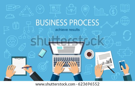 Business Process. Developer working at a laptop. Flat style and doodle icons in background, top view. Vector illustration.