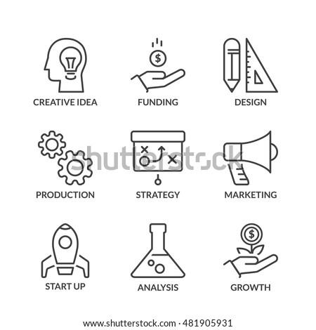 business process icons set, thin line, black color