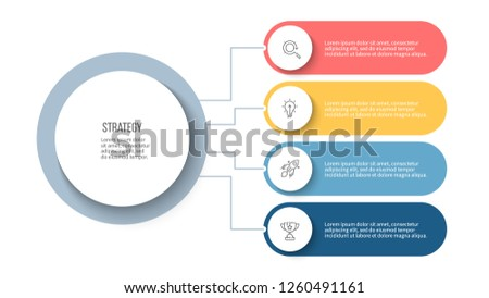 Business process. Infographic elements with 4 steps, options, circles. Vector template.