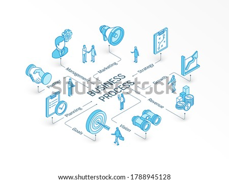 Business process isometric concept. Connected line 3d icons. Integrated infographic system. People teamwork. Strategy model, management, market, partner symbol. Plan, goal, vision growth pictogram