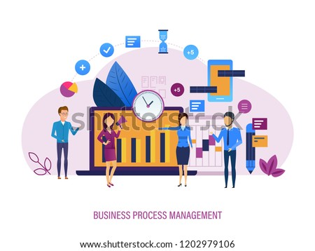 Business process management. Comprehensive monitoring, analysis of processes, use of case tools. Market research, team management, automation, analysis of processes in CRM. Vector illustration.