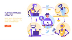 Business process robotization automation. Remote Work Concept. Vector illustration, flat vector landing page template.
