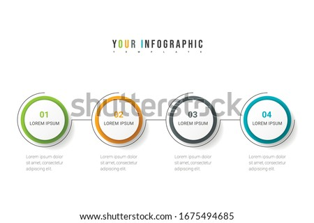 Business process. Timeline infographics with 4 options, circles. Vector illustration. ストックフォト ©