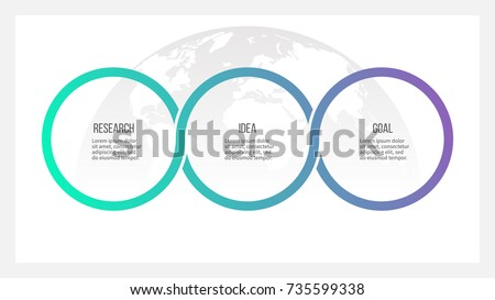 Business process. Timeline infographics with 3 options, circles. Vector template.