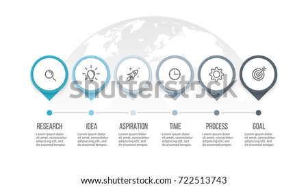 Business process. Timeline infographics with 6 steps, options, arrows. Vector template.