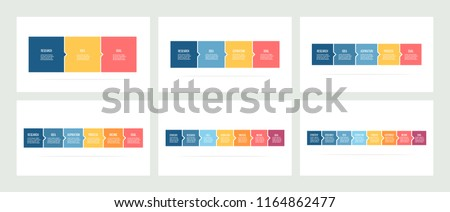 Business process. Timeline infographics with 3, 4, 5, 6, 7, 8 steps, options, squares. Vector templates.