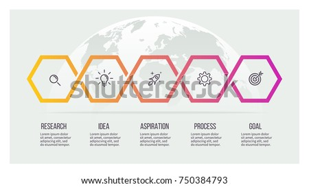 Business process. Timeline with 5 options, hexagons. Vector template.
