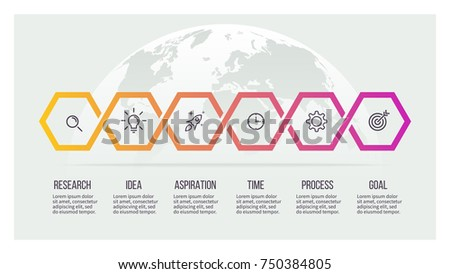 Business process. Timeline with 6 options, hexagons. Vector template.