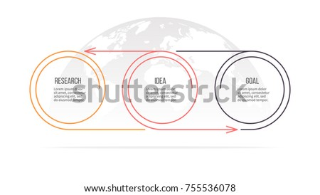 Business process. Timeline with 3 steps, options, circles. Vector template.
