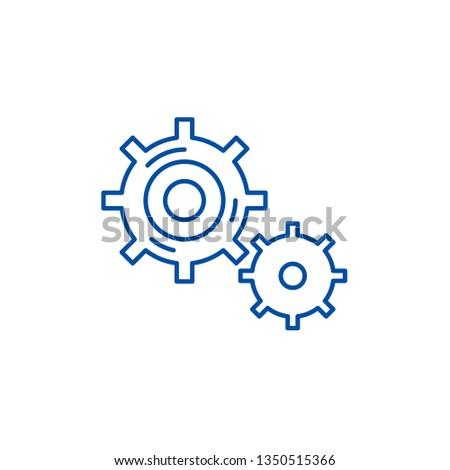 Business processes line icon concept. Business processes flat  vector symbol, sign, outline illustration.