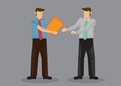Business professional hands over document file to coworker. Vector cartoon illustration for business situation isolated on grey background.