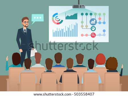 Business professional work team meeting. Man speaks, presentation project. People at the conference hall. Teamwork workplace. Vector creative illustrations flat design. Worker people Man and Women.