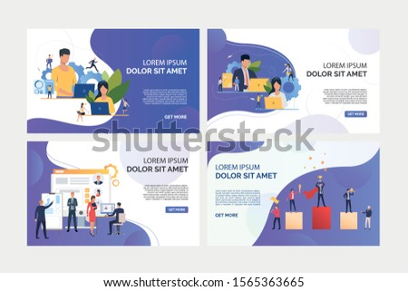 Business professionals working on computers set. Recruit agency team analyzing candidates. Flat vector illustrations. Business, career concept for banner, website design or landing web page