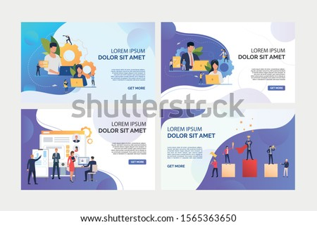 Business professionals working on laptops set. HR managers selecting personnel. Flat vector illustrations. Business, career concept for banner, website design or landing web page