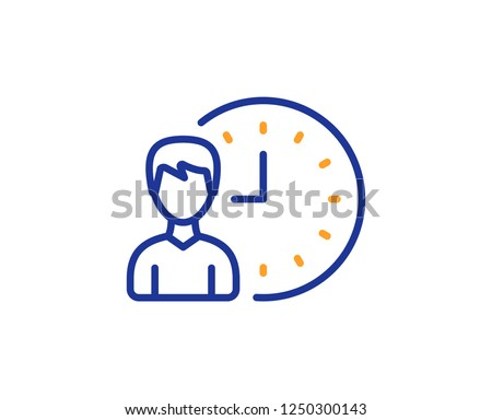 Business project deadline line icon. Working hours or Time management sign. Colorful outline concept. Blue and orange thin line color icon. Working hours Vector