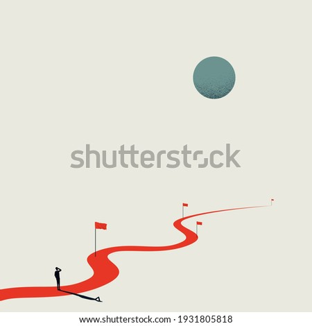 Business project milestones vector concept. Man standing at the start of the road, path. Symbol of planning, strategy. Eps10 design, minimal art illustration.