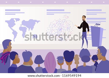 Business Project or IT Product Presentation, Company Shareholder Report or Science Conference Cartoon Vector Concept with Speaker Standing on Stage in Front of Public Audience, Explaining Infographics
