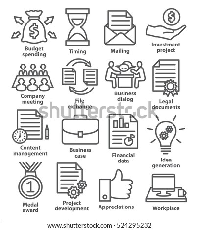 Business project planning icons in line style