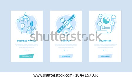 Business project, start-up, promotion. Set user interfaces, screens from mobile devices, phones, smartphones. Graphic design with buttons, text information. Screens template for mobile apps