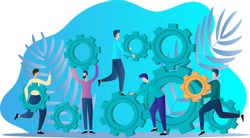 Business promotion.People from gears assemble mechanisms.The concept of teamwork and business investment.Flat vector illustration.
