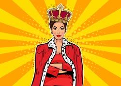 Business queen. Businesswoman with crown. Woman leader, success boss, human ego. Vector retro pop art comic drown illustration.