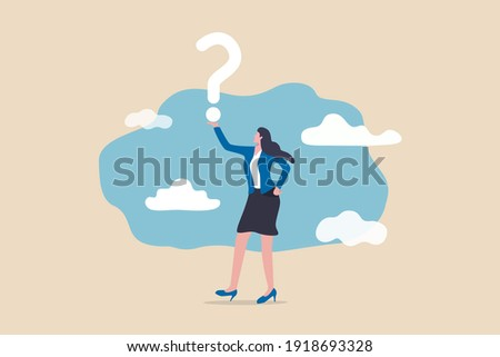 Business question, doubt, problem solving or ideas and creativity to answer and survive uncertainty concept, smart confidence businesswoman holding big question mark and think about solutions.