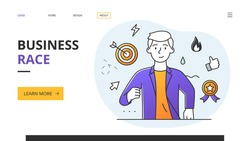 Business Race concept with businessman running towards the viewer surrounded by target winner, award and rosette icons, website landing page or template design outlined vector illustration