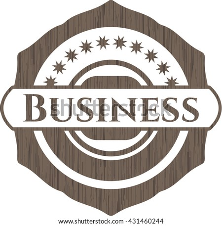 Business realistic wooden emblem