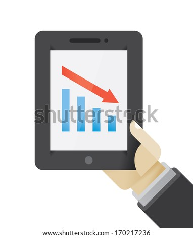 Business recession or crisis presentation graph on tablet computer in businessman hand. Idea - New technologies for business presentations and seminars.