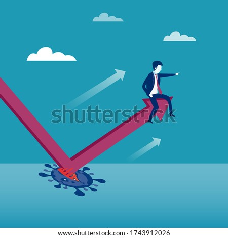 Business recovery vector concept: Businessman sitting on a moving upward chart after rebound Stockfoto ©