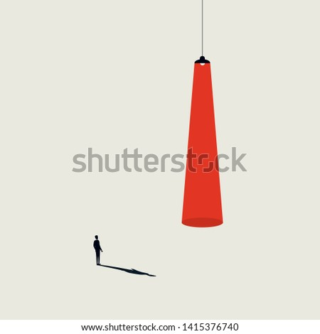Business recruitment and talent headhunting vector concept. Businessman walking to spotlight. Minimalist art style. Symbol of career opportunity, new job, hiring. Eps10 illustration.
