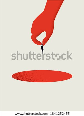Business redundancy, furlough, layoffs or dismissal vector concept. Hand dropping businessman into hole. Eps10 illustration.