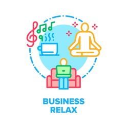 Business Relax Vector Icon Concept. Businessman Working On Comfortable Sofa With Laptop, Drink Beverage And Listening Music, Business Man Relaxing And Yoga Exercising Color Illustration