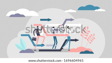 Business reorganize vector illustration. Company change in flat tiny persons concept. Progress and development strategy readjustment in unstable market situation.  Foto d'archivio ©